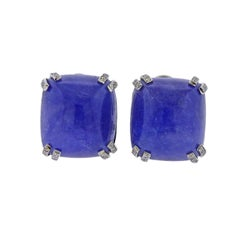 Seaman Schepps 40 Carat Tanzanite Cabochon Diamond Gold Earrings