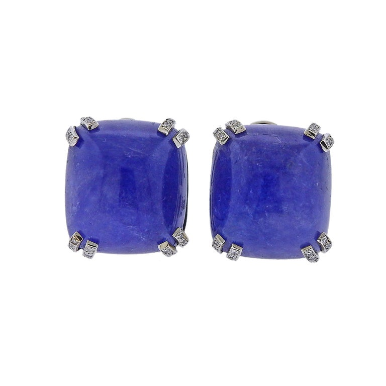 Seaman Schepps 40 Carat Tanzanite Cabochon Diamond Gold Earrings For Sale