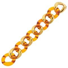 Seaman Schepps Amber Gold Link Bracelet