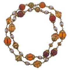 Seaman Schepps Amber Pearl Citrine Gold Nesting Necklace Set