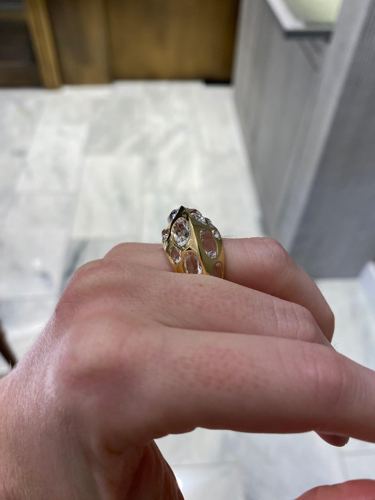 Seaman Schepps Antibes White Oval Topaz 18 Karat Yellow Gold Ring For Sale 6