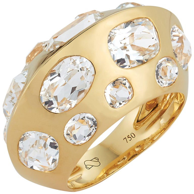 Seaman Schepps Antibes White Oval Topaz 18 Karat Yellow Gold Ring For Sale