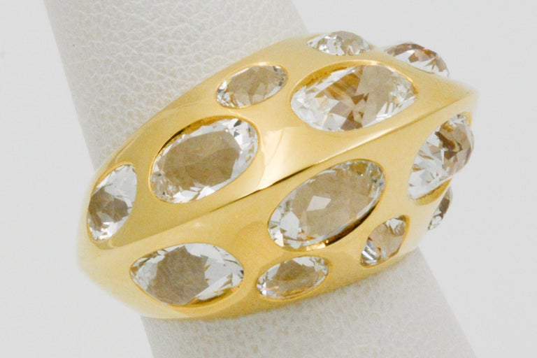 Seaman Schepps Antibes White Oval Topaz 18 Karat Yellow Gold Ring For Sale 4