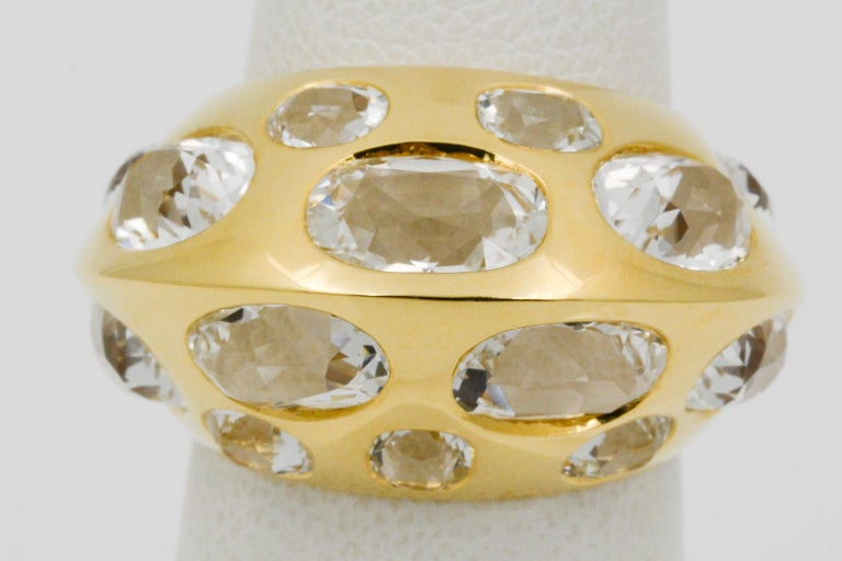 Modern Seaman Schepps Antibes White Oval Topaz 18 Karat Yellow Gold Ring For Sale
