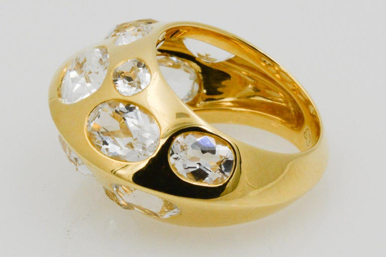 Oval Cut Seaman Schepps Antibes White Oval Topaz 18 Karat Yellow Gold Ring For Sale