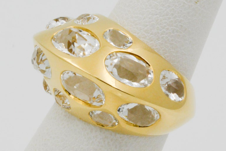 Seaman Schepps Antibes White Oval Topaz 18 Karat Yellow Gold Ring For Sale 1