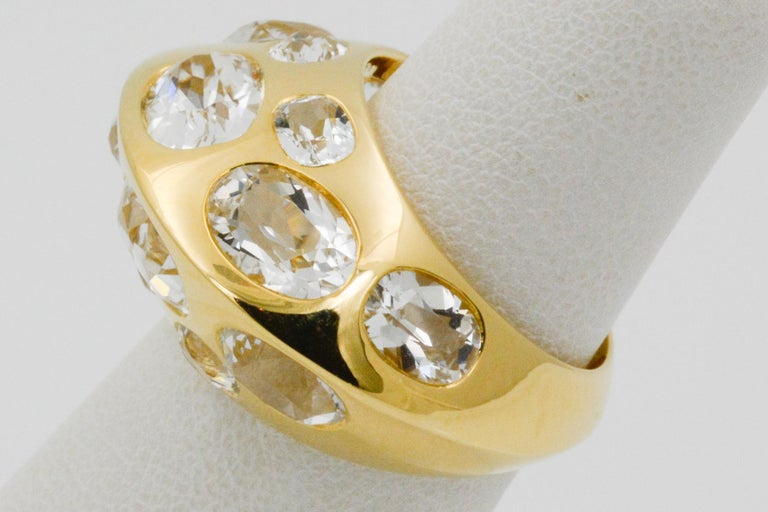 Seaman Schepps Antibes White Oval Topaz 18 Karat Yellow Gold Ring For Sale 3
