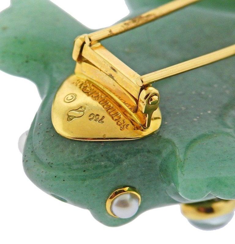 Women's or Men's Seaman Schepps Aventurine Aquamarine Pearl Gold Frog Brooch For Sale
