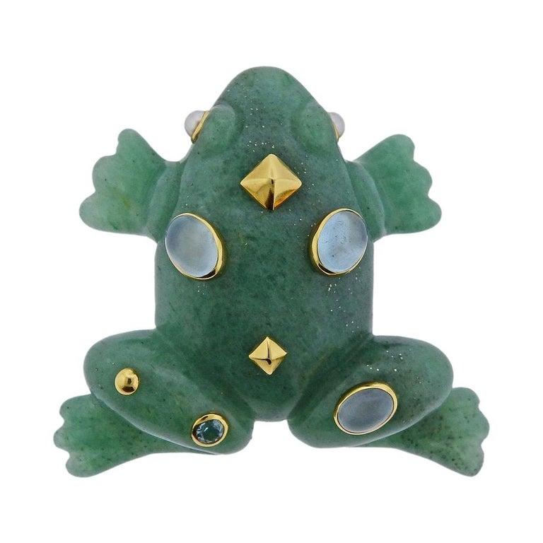 Seaman Schepps Aventurine Aquamarine Pearl Gold Frog Brooch For Sale