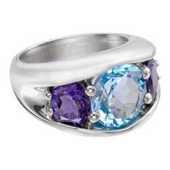 "Seaman Schepps Blue Topaz and Iolite ""485"" Three-Stone Ring"