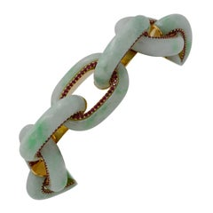 Seaman Schepps Bodrum Jadeite and Ruby 18 Karat Yellow Link Bracelet