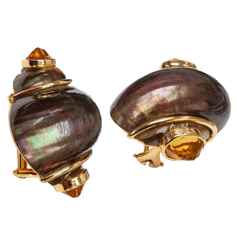 Modern Seaman Schepps Bronze Colored Shell Citrine Gold Earrings For Sale