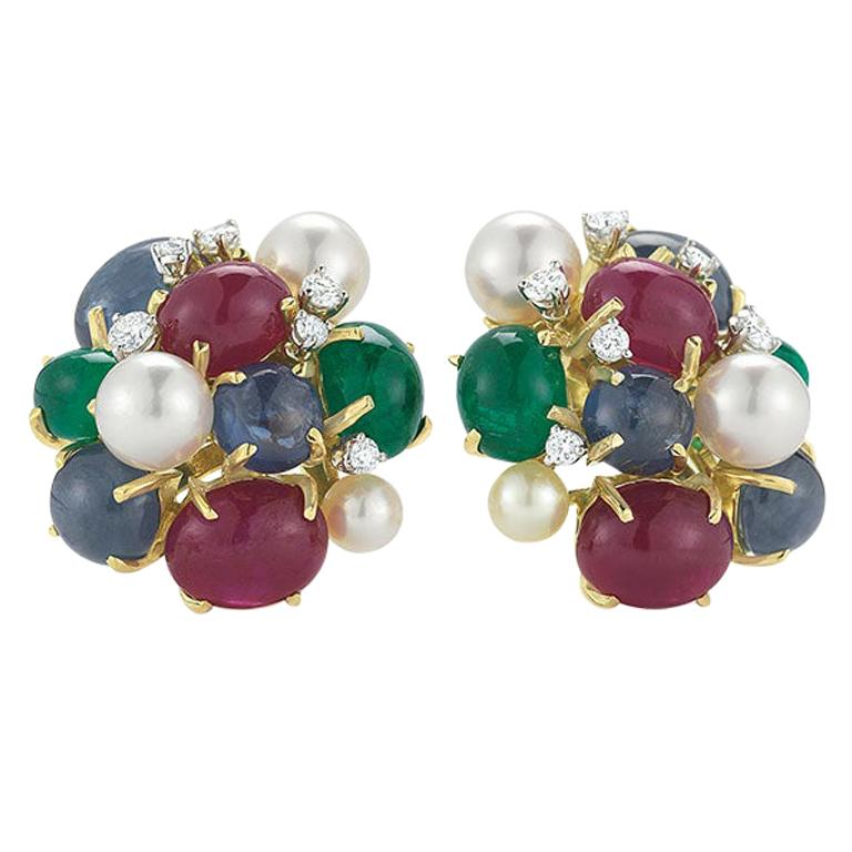 Seaman Schepps Bubble 18 Karat Gold Ruby, Emerald, Sapphire and Pearl Earrings For Sale