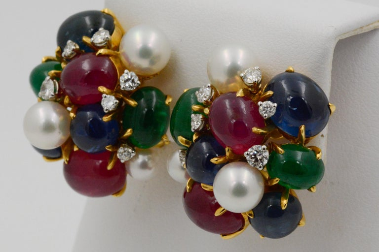 Modern Seaman Schepps Bubble 18 Karat Gold Ruby, Emerald, Sapphire and Pearl Earrings For Sale