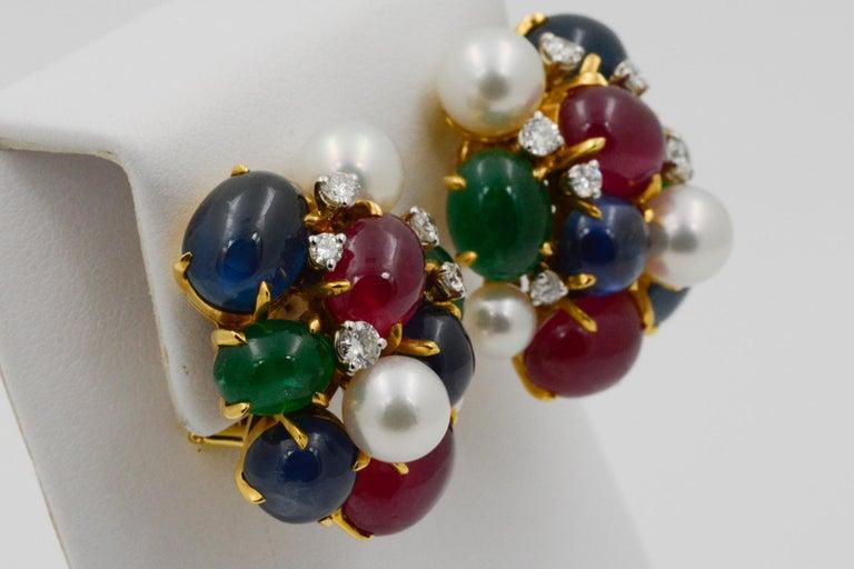 Emerald Cut Seaman Schepps Bubble 18 Karat Gold Ruby, Emerald, Sapphire and Pearl Earrings For Sale