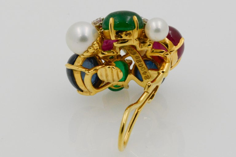 Seaman Schepps Bubble 18 Karat Gold Ruby, Emerald, Sapphire and Pearl Earrings In New Condition For Sale In Dallas, TX