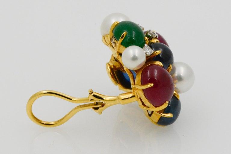 Women's Seaman Schepps Bubble 18 Karat Gold Ruby, Emerald, Sapphire and Pearl Earrings For Sale