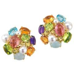Seaman Schepps Bubble Multi-Color Gemstone Earrings