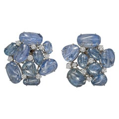 Seaman Schepps Cabochon Sapphire and Diamond Cluster Earclips