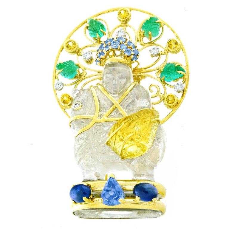 Seaman Schepps Chessman Gold Brooch In Excellent Condition For Sale In Litchfield, CT