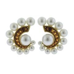 Seaman Schepps Citrine Pearl Gold Swirl Earrings
