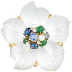 Seaman Schepps Clematis Rock Crystal Flower Brooch