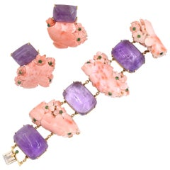 Seaman Schepps Coral, Amethyst and Emerald Bracelet and Rings