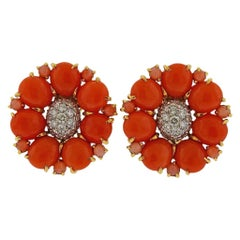 Seaman Schepps Coral Diamond Gold Flower Earrings
