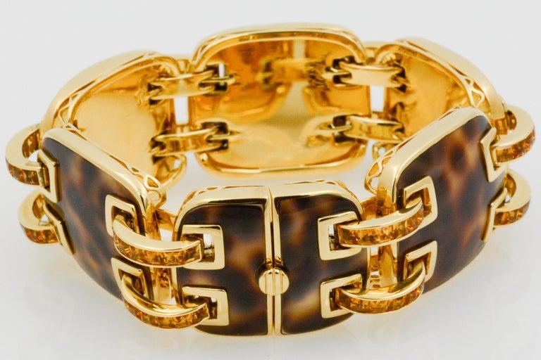 Women's Seaman Schepps Cowrie Ponte Citrine 18 Karat Yellow Gold Bracelet For Sale
