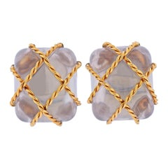 Seaman Schepps Crystal Gold Large Cage Earrings