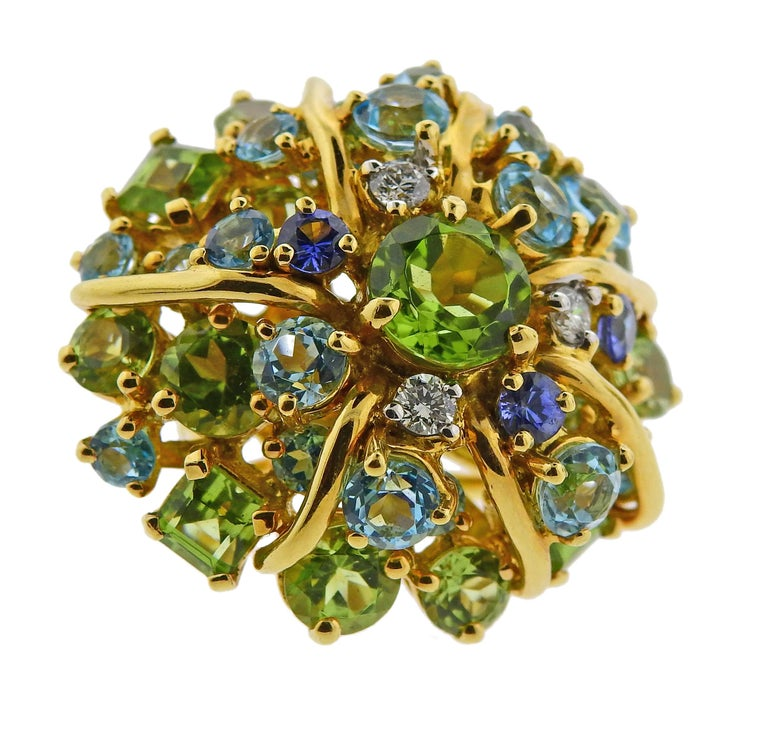 Seaman Schepps Diamond Aquamarine Sapphire Peridot Gold Earrings In Excellent Condition For Sale In Lahaska, PA