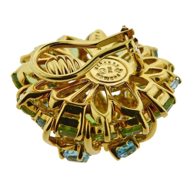 Women's Seaman Schepps Diamond Aquamarine Sapphire Peridot Gold Earrings For Sale