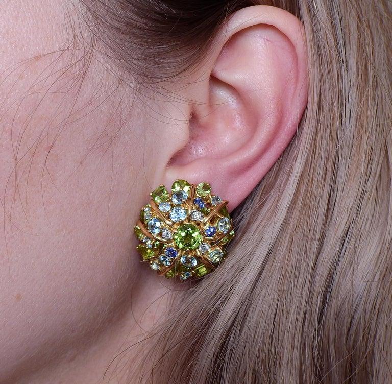 Seaman Schepps Diamond Aquamarine Sapphire Peridot Gold Earrings For Sale 1