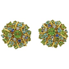 Seaman Schepps Diamond Aquamarine Sapphire Peridot Gold Earrings