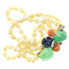 Seaman Schepps Diamond Emerald Sapphire Coral Ruby Pearl 14 Karat Gold Bracelet