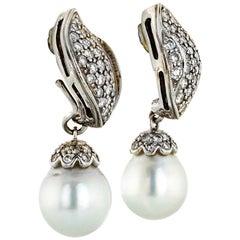 Seaman Schepps Diamond Pe 18 Karat White Gold Drop Earrings