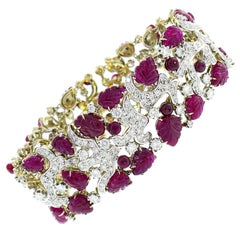 Seaman Schepps Diamond Ruby White Gold Bracelet