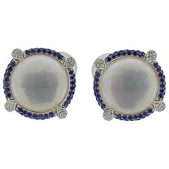 Seaman Schepps Diamond Sapphire Crystal Gold Earrings