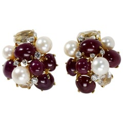 Seaman Schepps Bubble Earrings with Rubies Diamonds and Pearls
