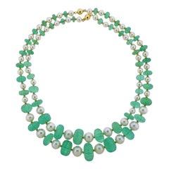 Seaman Schepps Emerald Pearl Gold Necklace Set
