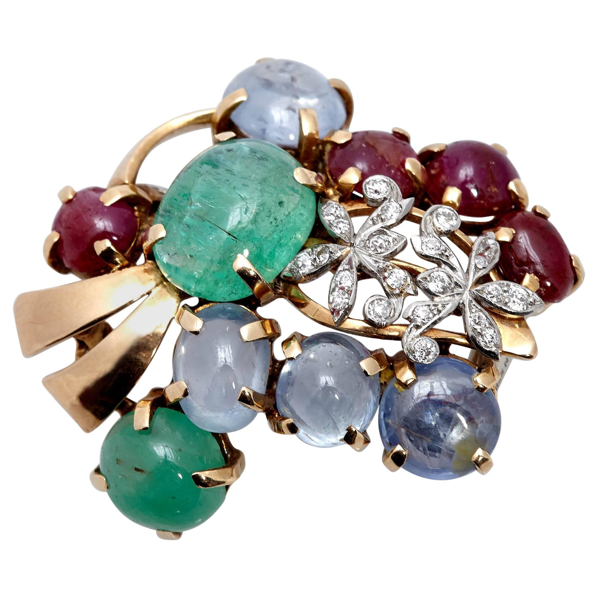 Seaman Schepps Emerald Ruby Diamond Brooch