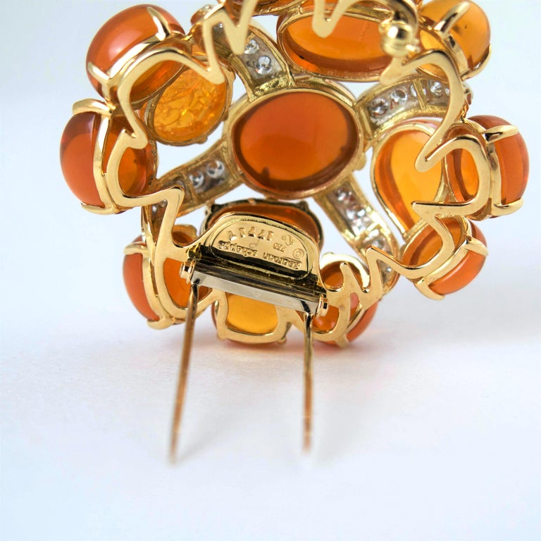 Cabochon Seaman Schepps Fire Opal and Diamond Gold Brooch, 1980 For Sale