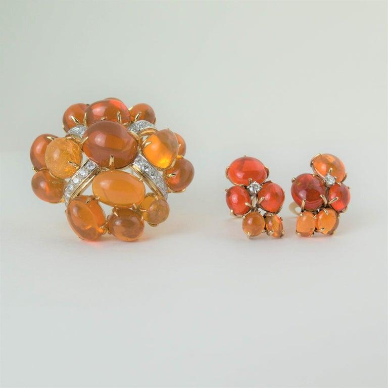 Women's or Men's Seaman Schepps Fire Opal and Diamond Gold Brooch, 1980 For Sale