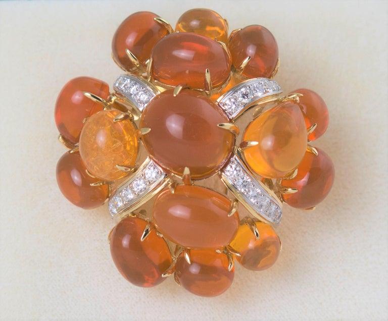 Seaman Schepps Fire Opal and Diamond Gold Brooch, 1980 For Sale 2