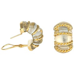 Seaman Schepps Gold and Rock Crystal Earrings