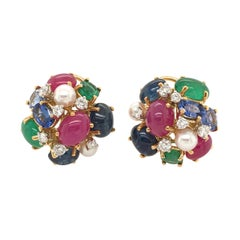 Seaman Schepps Gold, Gem Stone and Pearl Bubble Earrings