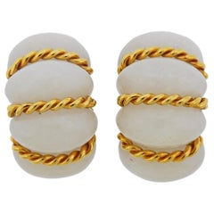 Seaman Schepps Gold Gemstone Shrimp Earrings