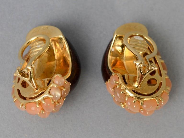 Modern Seaman Schepps Half Link Wood and Pink Moonstone Earrings For Sale