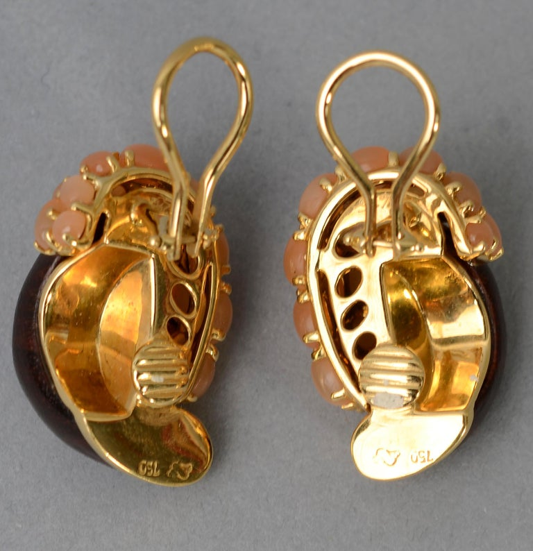 Seaman Schepps Half Link Wood and Pink Moonstone Earrings In Excellent Condition For Sale In Darnestown, MD