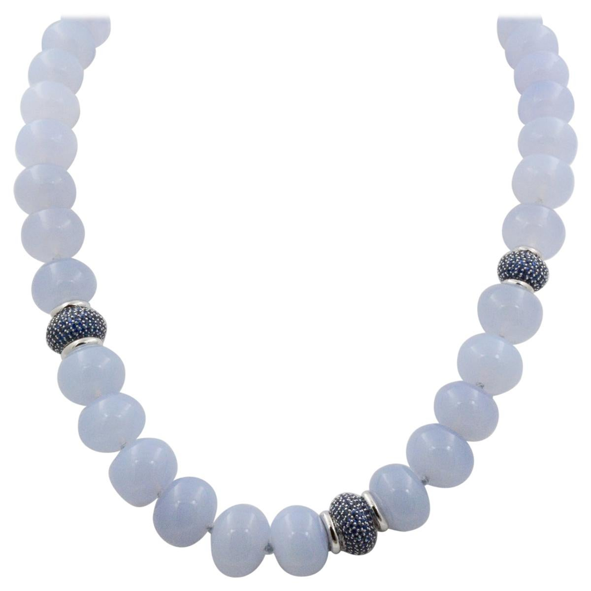 Seaman Schepps Juno Blue Chalcedony Beads and Sapphire Necklace